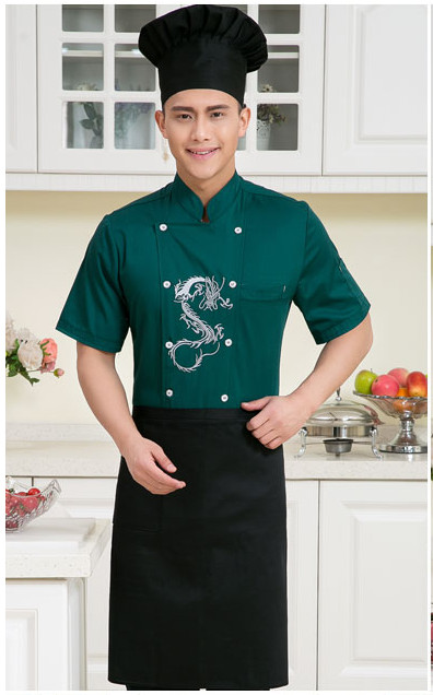 Chinese style Short -sleeve Chef service Embroidered dragon Hotel working wear Restaurant chef jackets Chef uniform