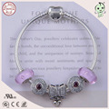 Hot Sale Popualr Pink Murano And Silver Bowknot Charm 925 Sterling Real Silver Bracelet For Girlfriend Gift