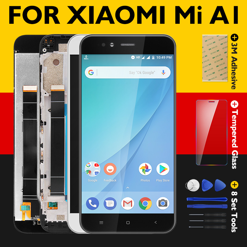 100% Tested For Xiaomi Mi A1 LCD Display + Frame 10 Touch Screen Panel For Xiaomi A1 LCD Digitizer Assembly Replacement Parts