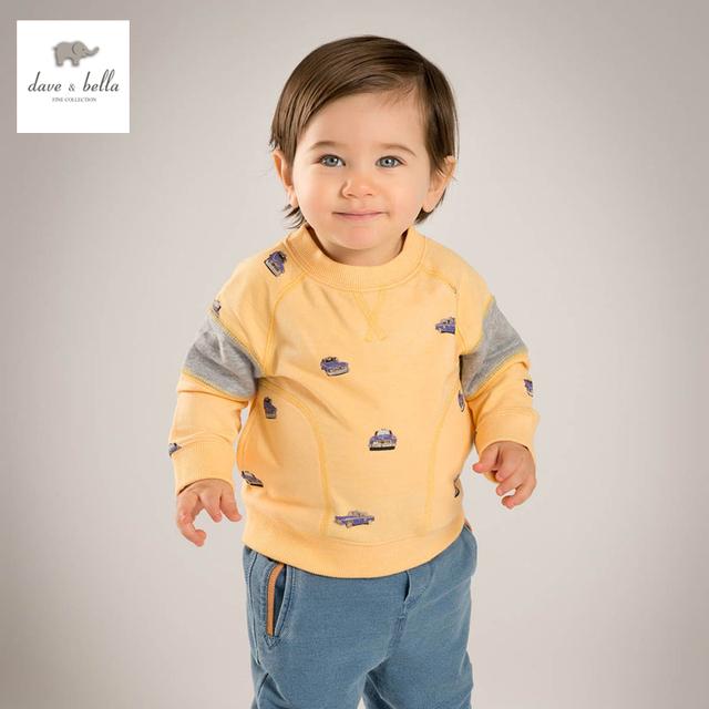 DB4548 dave bella primavera do bebê meninos camisetas amarelas carro impresso t-shirt de algodão top