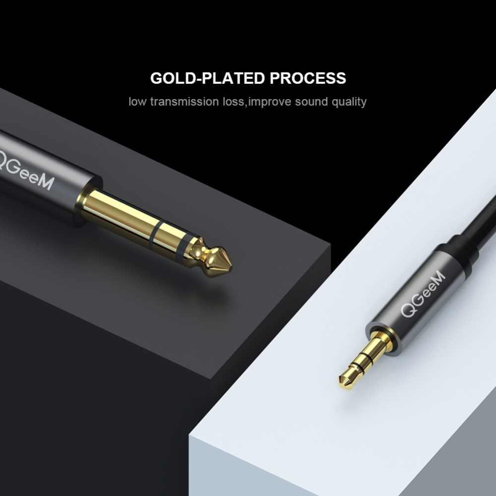 QGeeM 3,5 мм до 6,35 мм адаптер Aux кабель для микшера усилитель CD-плеер динамик позолоченный 3,5 разъем для 6,5 Jack Мужской аудио кабель