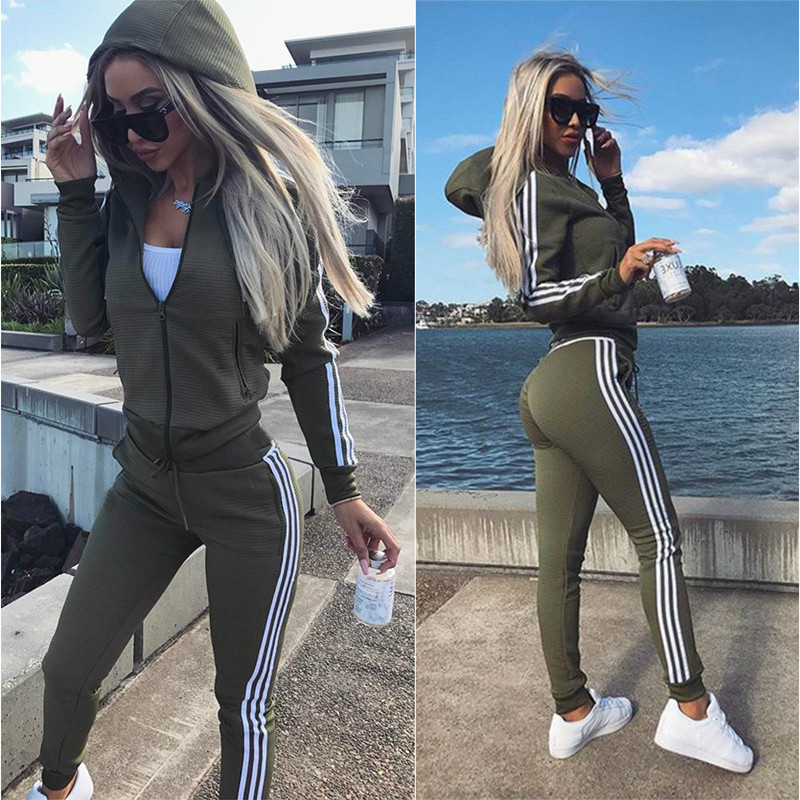 Tracksuit Women Casual Female Set 2018 Autumn Long Sleeve Sweatsuit Womens Hooded Tops and Pants Two Piece Outfit Sets Size XXL