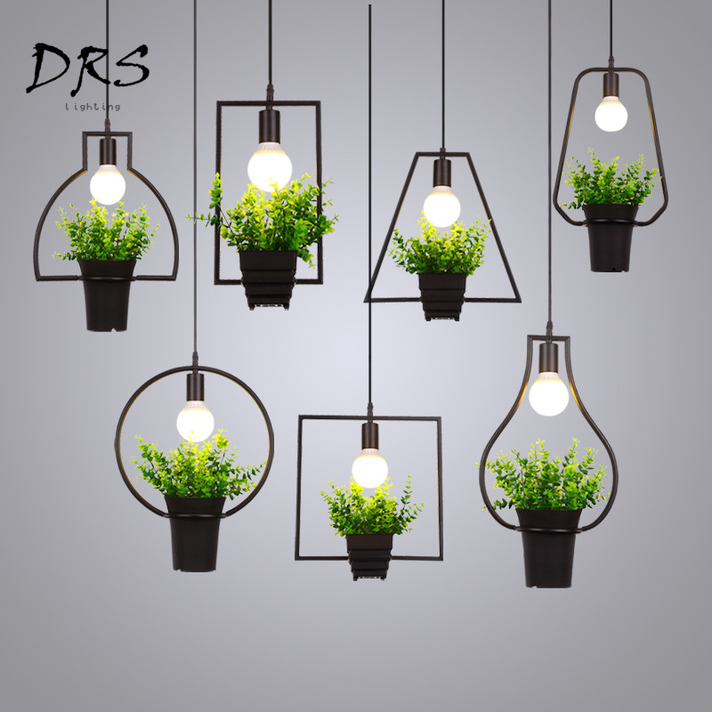 American green Chandelier Flower Deco  Pendant Lamp Industrial Iron Potted Plants Living Room luminaria de teto home LightingAmerican green Chandelier Flower Deco  Pendant Lamp Industrial Iron Potted Plants Living Room luminaria de teto home Lighting
