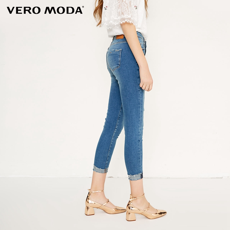 Vero Moda Whitening ripped cropped slim strech well   jeans   |318149553