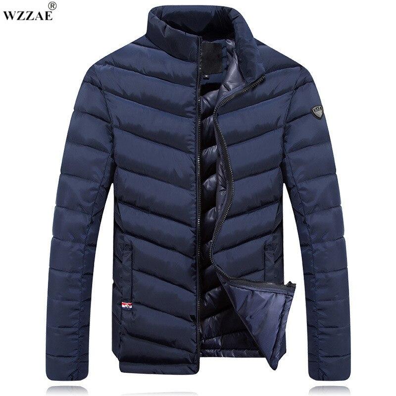 WZZAE 2017 New Design Thick Warm Winter Cotton Jacket Men Stand Collar Casual Winter Coat Black Red Beige Navy blue Size:M-XXXL