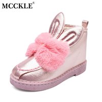 MCCKLE Female Rabbit Ears Slip On Bowtie Sequined Cloth Winter Platform Warmer Plush Ankle Snow Boots
