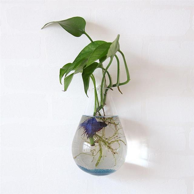Drop Glass Vase Wall Mounted Hydroponic Water Culture Plant Utensils