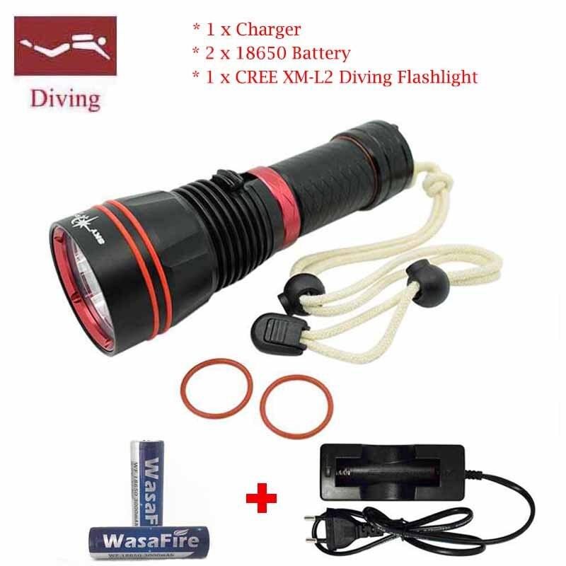 2016 New Torch 5000 Lumen Underwater Flashlight XM-L2 LED Scuba Diving Flashlight Diver Torch Light + 2x18650 +Charger 9000 lumen underwater flashlight xml 6x l2 scuba diving flashlight diver lanter led torch light lanterna 2x 26650 charger