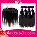 Indian STRAIGHT Virgin Hair Extension Lace Frontal Closure With Bundles,4PCS Virgin Straight Hair With Lace Frontal Closure 13x4