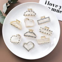 Korea 2019 New Geometric Rectangle Heart Hair Claws Hairpins for Women Girls Imitation Pearl Crystal Clips Accessories