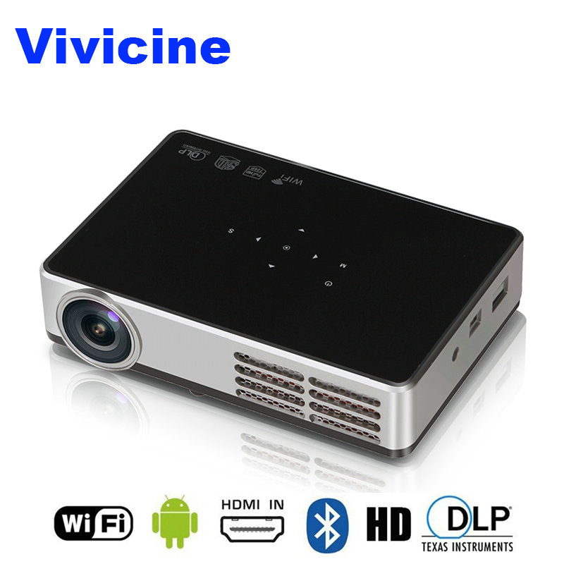 VIVICINE más nuevo 1280x800 portátil 3D Android 1080p proyector, DLP HDMI USB PC WIFI inalámbrico de cine en casa Mini proyector de vídeo