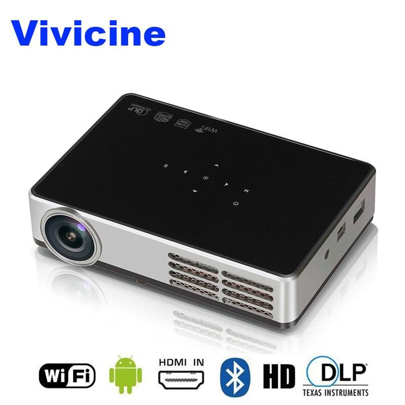 VIVICINE plus récent 1280x800 Portable 3D Android 1080p projecteur, DLP HDMI USB PC WIFI sans fil Home cinéma Mini projecteur vidéo