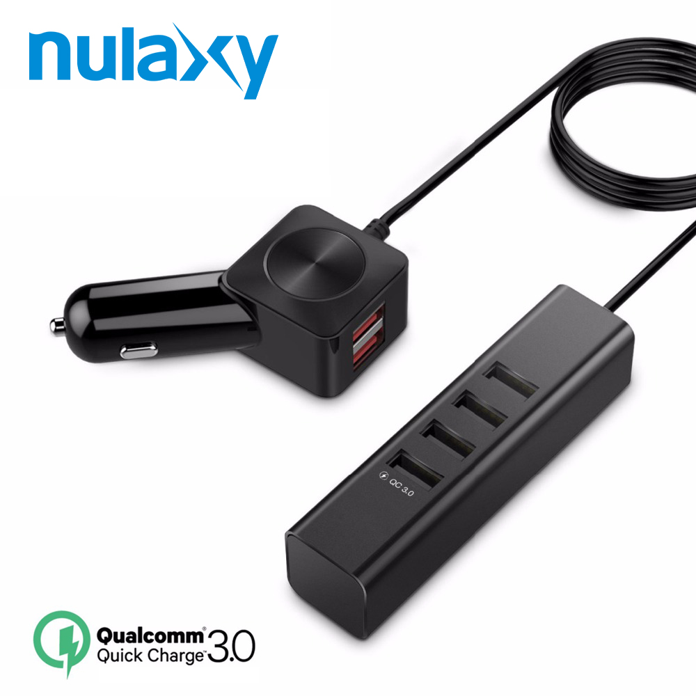 Nulaxy 6 USB Ports Car Charger Quick Charger 3.0 Smartphone Charger Car Charger Adapter for iPhone Samsung Huawei HTC Tablet