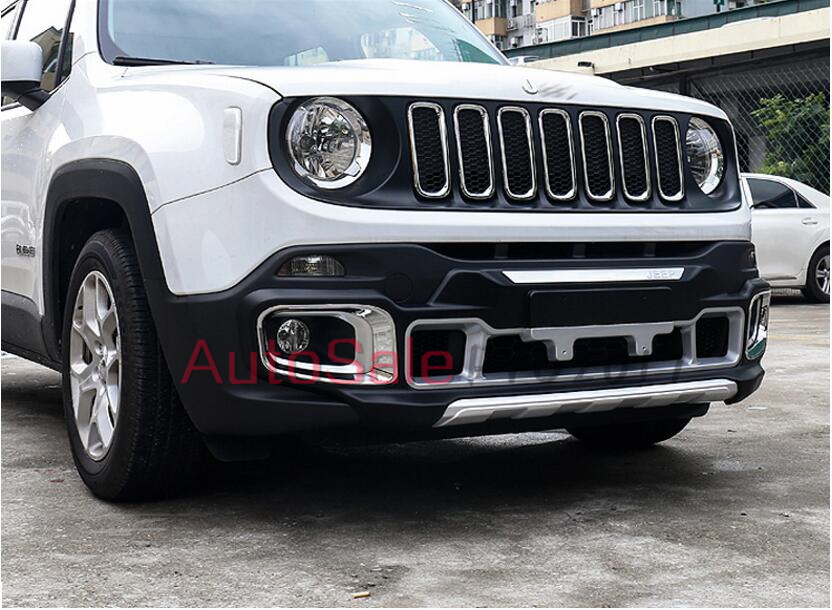 For Jeep Renegade Plastic Front Rear Bumper Protection Guard Skid Plate Trims on 2016 Jeep Renegade Limited