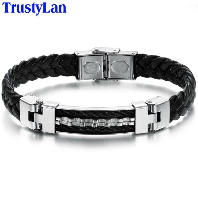 TrustyLan Luxury Fashion Stainless Steel Leather Bangle Bracelet Men Bracelets & Bangles Male Biker Chain Jewelry Accessories
