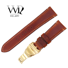 Rolamy Wholesale 22mm Vintage Style Genuine Leather Replacement Wrist Watchband Strap Belt Loops Band Bracelets For IWC Tudor