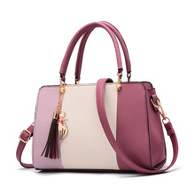 2018 Luxury Women Hit Color PU Leather Handbag Fashion Tote Bags Crossbody Bag Shoulder Bag with Tassel and Cat Pendant