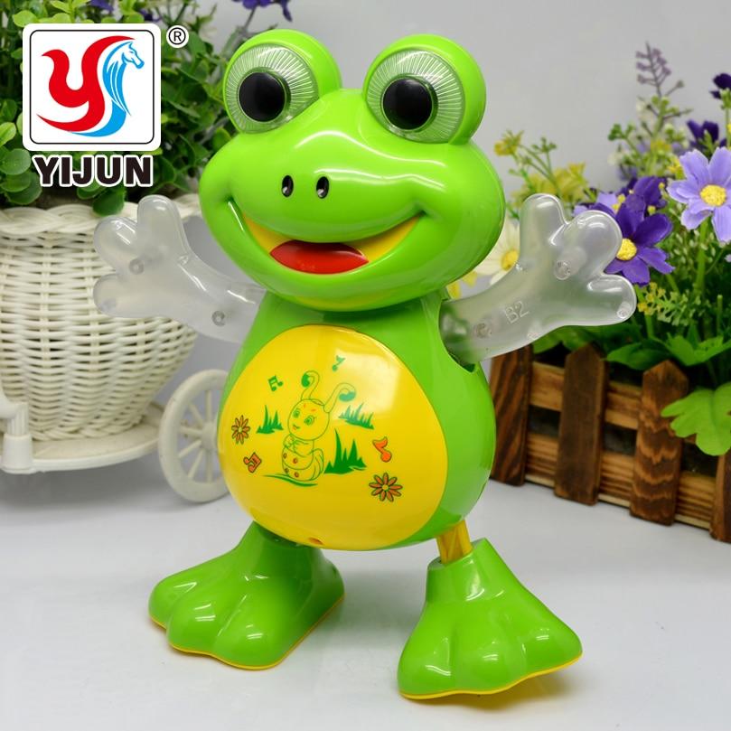Yijun nova dança eletrônica sapo brinquedos para animais de estimação robô boneca brinquedos música luz interativa universal brinquedos crianças presentes brithday