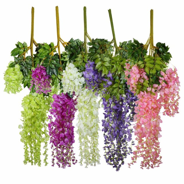 24 unids 105 cm seda artificial colgante flor wisteria plantas florecen las guirnaldas decorativas de la - Plantas Colgantes
