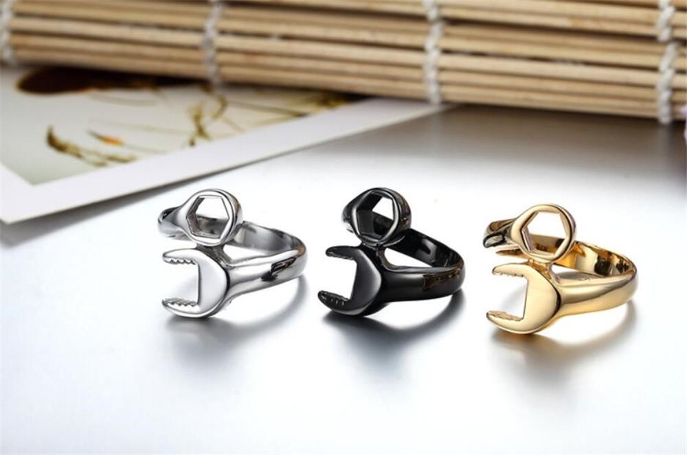 HTB183j5NXXXXXbIaXXXq6xXFXXX2 - Men's Wrench Automotive Style Titanium Ring