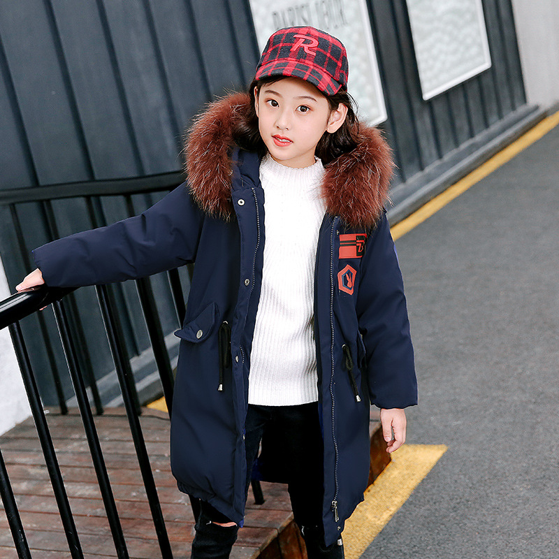 Children Winter Coat Teenage Girls Clothing Kids 2018 Girls Winter Jackets with Fur Collar Warm Thick Hooded Long Down Parkas fashion girls winter down coat teenagers long down thick warm coat parkas fur collar hooded jackets clothing children snowsuit