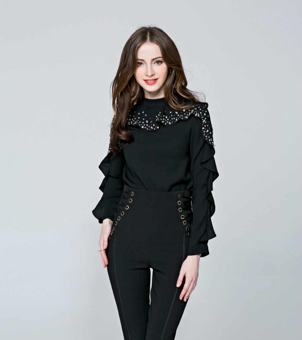 Подиум 2018 весна женская блузка бисером специальные рукава с гофрированными манжетами блузки Черный Белый Цвет Рубашки Женские базовые офисные женские топы
