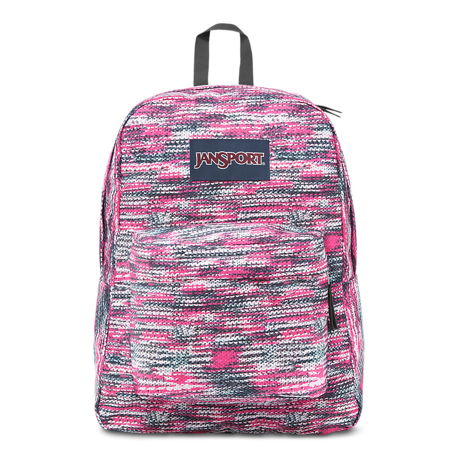 JanSport Superbreak School Backpack - Multi Sweater Knit - Silver twist back crop chunky knit sweater