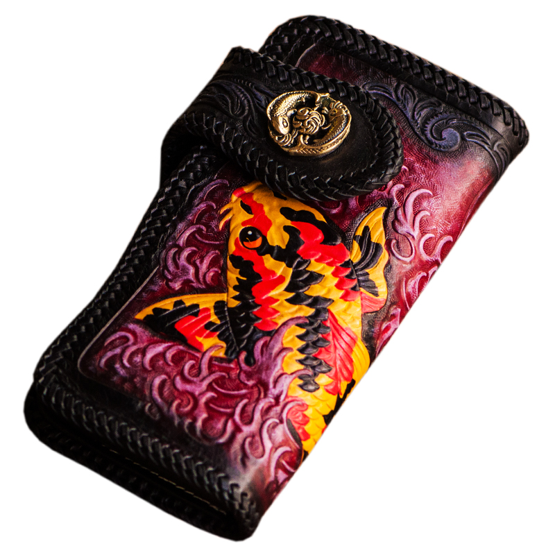 Handmade carving Lucky Fish Women Wallets Card Holder Purses Men Long Clutch Vegetable Tanned Leather New Year Gift