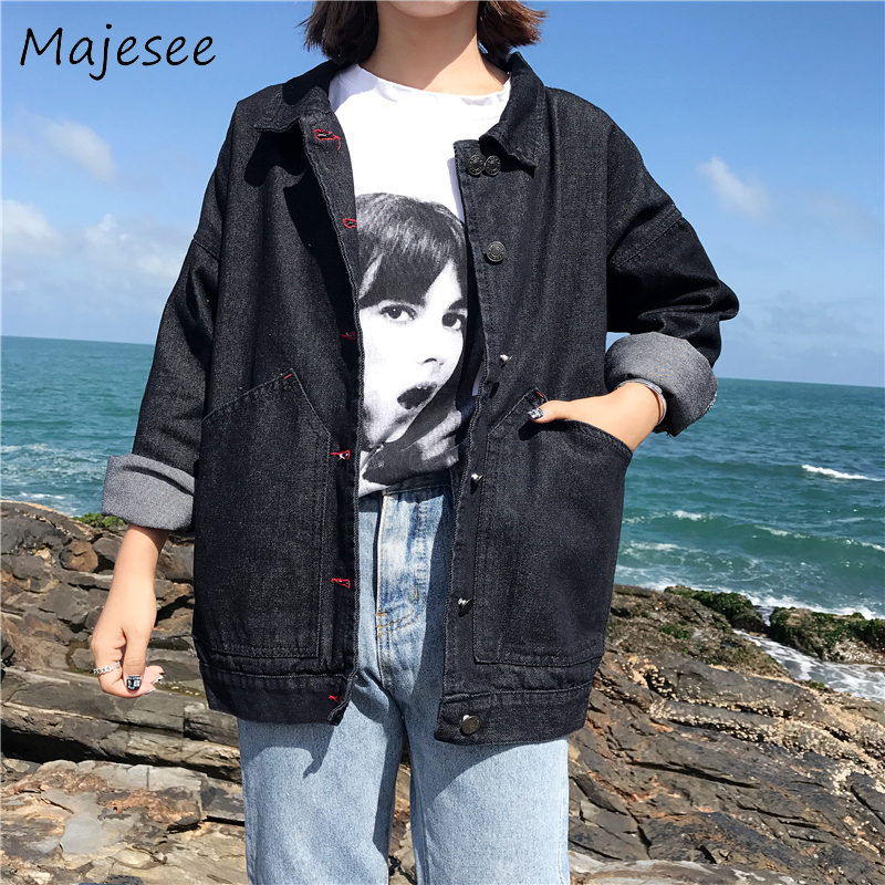 Harajuku Loose Vintage Simple Designed   Basic     Jackets   Students Pockets Solid Color Womens Single Breasted Coat Women Korean Style