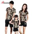 Família Moda Camuflagem Camisetas Verão Curto-luva Matching Roupas Roupas Da Família Para Mãe e Filha Pai E Filho