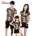 Family Fashion Camouflage T-shirts Summer Short-sleeve Matching Family Clothing Outfits For Mother Daughter And Father Son