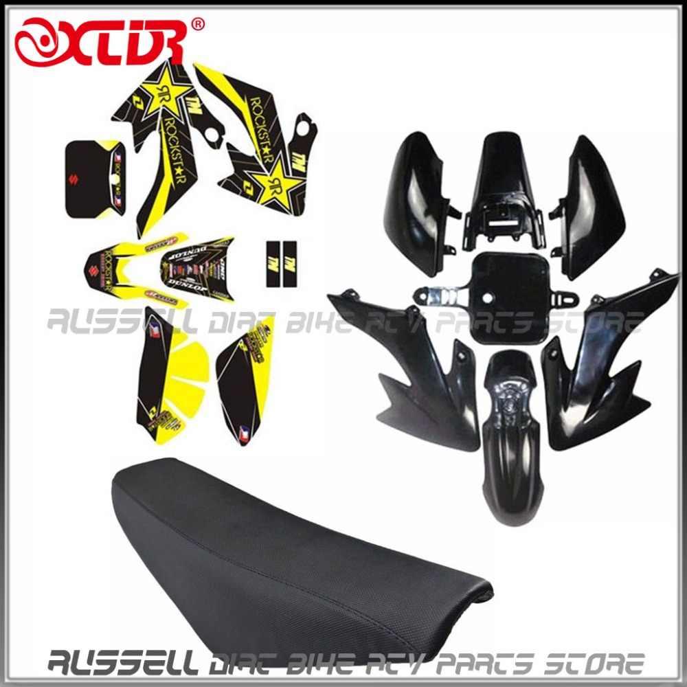 Pit Dirt Bike Yellow Plastic Rockstar Sticker Set 50cc 110cc 125cc 140cc Pitbike