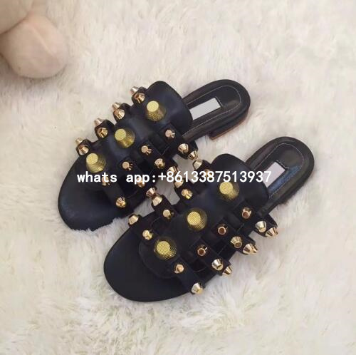 2017 New Casual Beach Dress Shoes Women High Quality Flat Studded Caged Flat Slide Sandals Rivets Embellished Sandals woven flat slide sandals