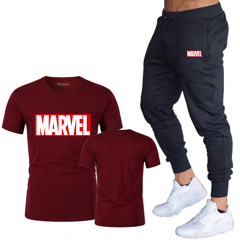 HTB183kEJ7voK1RjSZFwq6AiCFXaD New summer hot brand sale men's MARVEL suit T shirt + pants two piece casual sportswear printing shirts gym fitness pants 2019