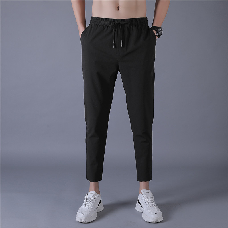 Sweatpants Thin Sports Korean-Version Men's New Hip-Hop Solid Long Tide Black-Color Slim-Feet