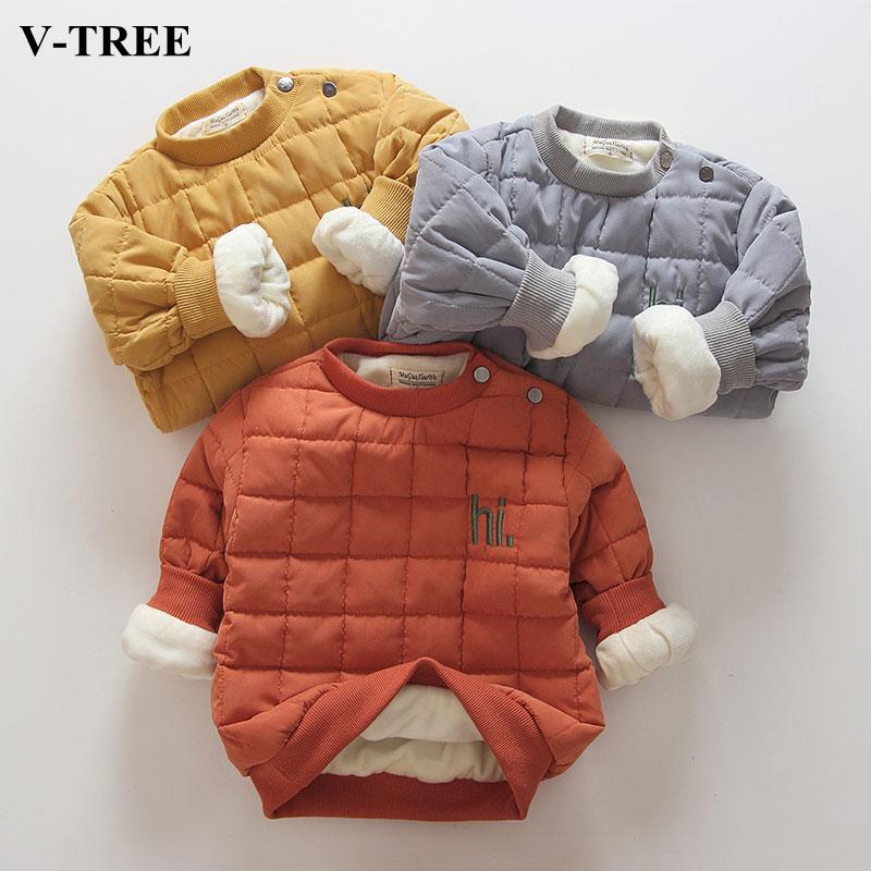 V-TREE Velvet Children Sweatshirt Winter Thicken Boys Shirt Long Sleeve T-shirt For Girls Cashmere Kids Clothes Brands Baby Tops letter tree print long sleeve sweatshirt