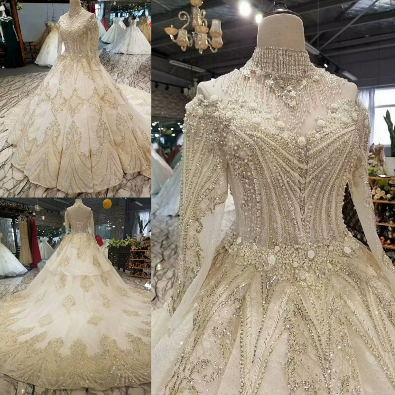 Real Photo Vestido De Noiva Ball Gown Lace Sequins Crystal Full Sleeves Wedding Dresses 2020 QUEEN BRIDAL Robe De Mariee WD72