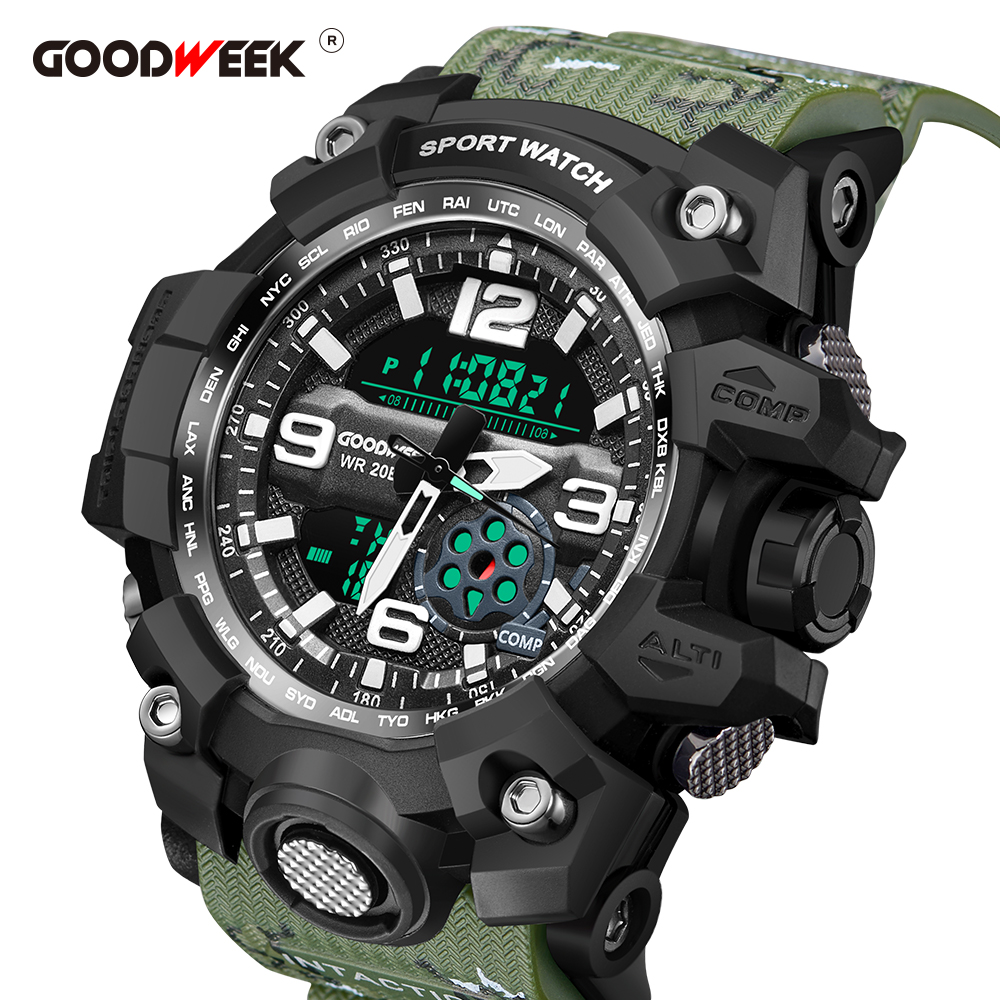 GOODWEEK Men Sports Watches Waterproof Army Military Watches Digital Dual Display Watches G Style Shock Relogios Masculino