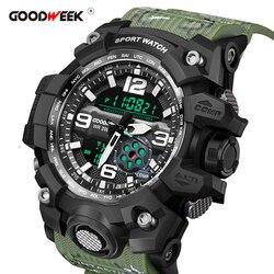 GOODWEEK mężczyźni sport zegarki wodoodporne zegarki wojskowe cyfrowy podwójny wyświetlacz zegarki G styl Shock Relogios Masculino w Zegarki sportowe od Zegarki na