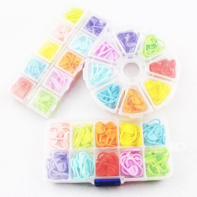 120pc With Box Colorful Plastic Knitting Crochet Locking Stitch