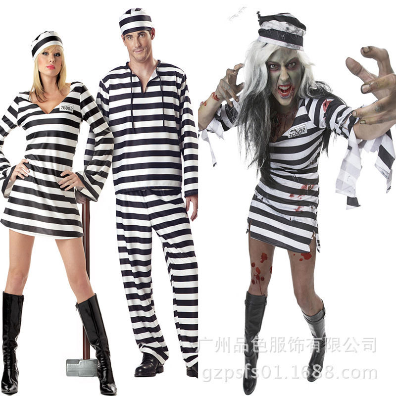 Prisoner Costume Suit Carnival Halloween Men Women Adult Convict Cosplay Costume Black White Stripe Dress
