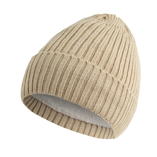140098bc462 PADEGAO Unisex Wool Blend Striped Knit Beanie Hats for Women Men Winter  Warm Ski Cap Grey