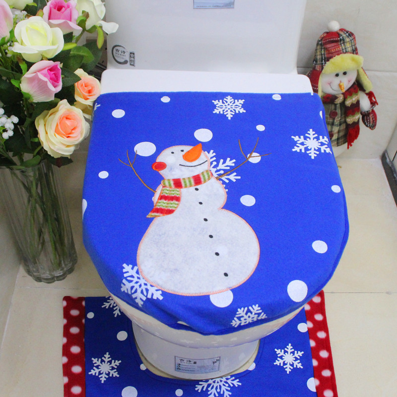 3 pcs/set Christmas Snowman Toilet Seat Cover Foot Pad Water Tank Cover Bathroom Christmas Decorations 6A0505