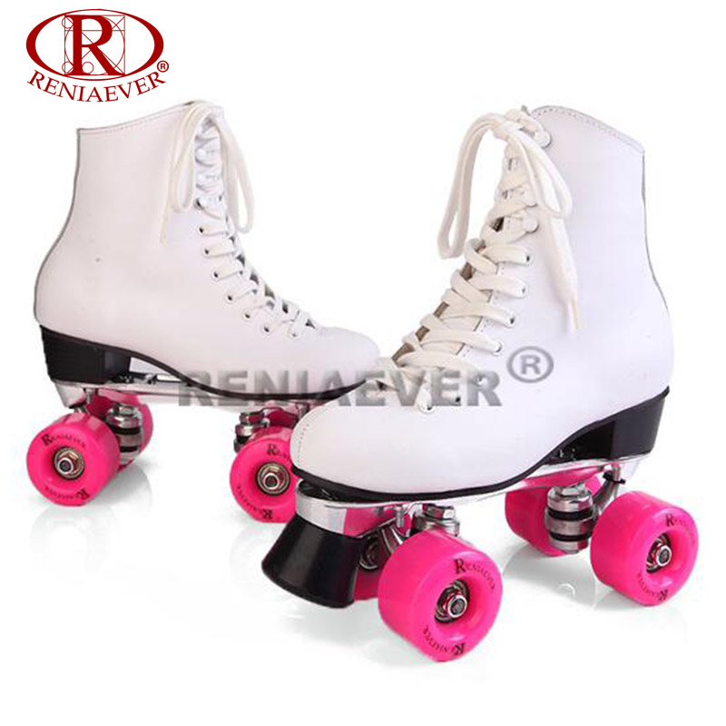 RENIAEVER Roller Skates White Genuine Leather Double Line Skates Women Lady Metal Base 4 Wheels Two line Skating Shoes Patines reniaever roller skates double line skates white women female lady adult with white pu 4 wheels two line skating shoes patines