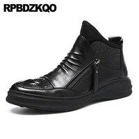 Кроссовки на молнии мужские слипоны повседневная обувь из искусственного меха на танкетке Теплые Зимние ботиночки на высокой подошве Harajuku