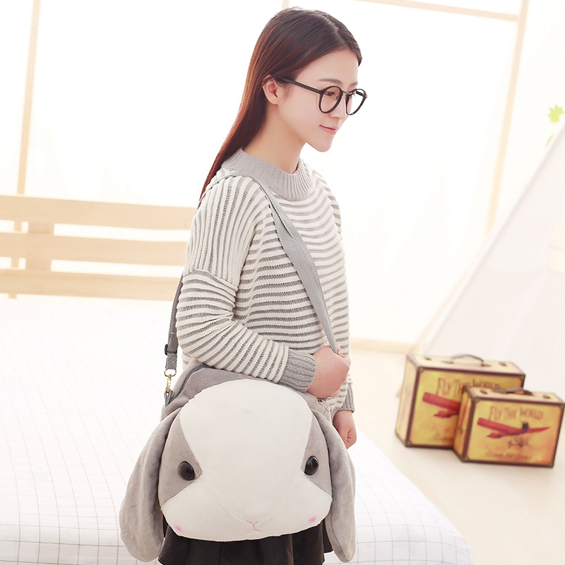 Rabbit head kids backpack toy plush animal backpack for childrens gift The kids shoulder bag