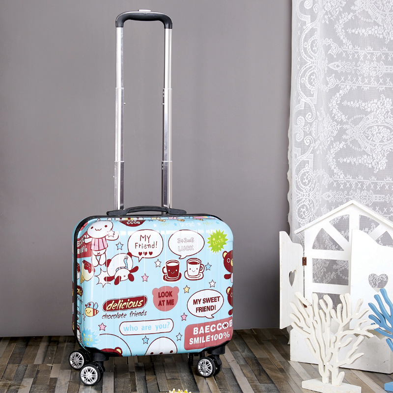 Carry on luggage 18 inch Spinner cartoon Unisex kids luggage wearproof suitcases and travel bags maletas de viaje con ruedas