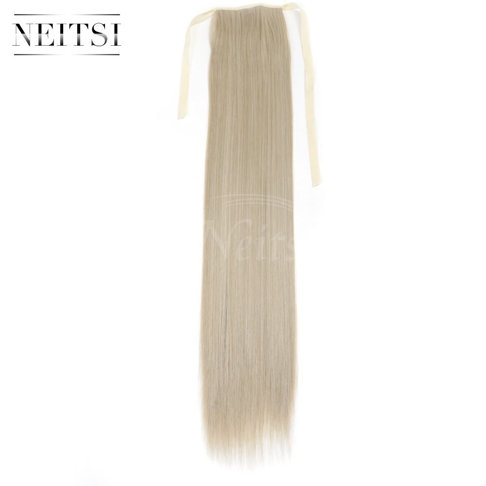 Neitsi Straight Long Clip In Hair Tail False Hair Ponytail Hairpiece With Hairpins Synthetic Hair M24 613 in Braid Maintenance from Beauty Health