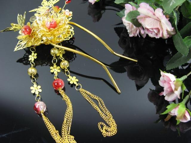 Classical hair stick bride cheongsam  hanfu tang suit hair accessories costume hair accessory tassel hair stick with long tassel pink crystal double layer classical hair stick vintage hair accessory hair stick hanfu hair accessory