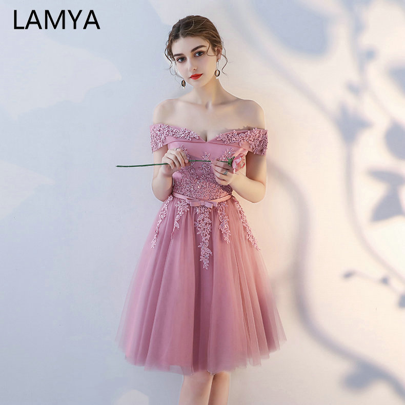 LAMYA Customized Short Evening Dresses Elegant Lace With Beading Formal Party Dress Sexy Lace Up Off The Shoulder Robe De Soiree